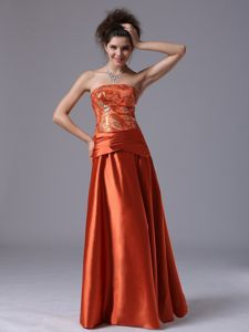 Strapless Rust Red Floor-length Graduation Ceremony Dresses with Beading