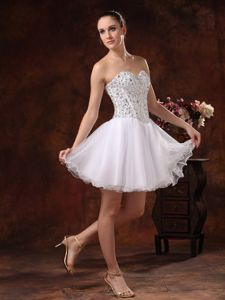 New Arrival White Sweetheart Mini-length School Party Dress with Beading