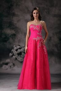 Pretty Hot Pink Beaded Sweetheart Floor-length Prom Dress for Graduation