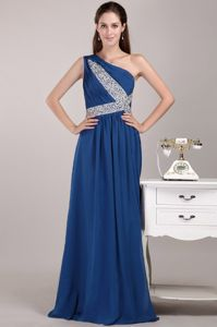 Royal Blue Single Shoulder Floor-length Prom Dresses for Grad with Beading