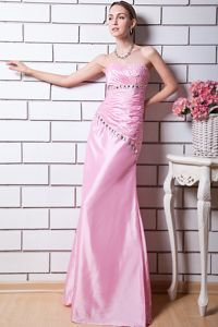 Exclusive Sweetheart Baby Pink Long Graduation Dress with Beading in Erie