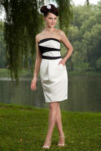 Modest Strapless Black and White College Graduation Dresses with Beading