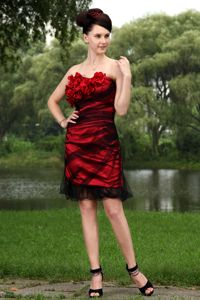 Strapless Red and Black Mini-length Graduation Dress with Flowers in Austin
