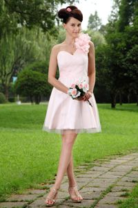 Hot Sale Light Pink Single Shoulder Short School Party Dresses with Flowers