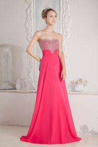Simple Coral Red Sweetheart Long Graduation Dress with Beading in Denton
