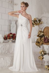 Modest White One Shoulder Brush Prom Dress for Graduation with Beading