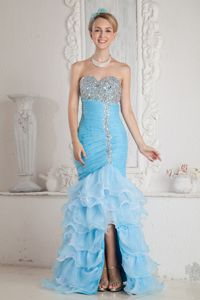 Baby Blue Beaded Sweetheart College Graduation Dress with Slit and Ruffles