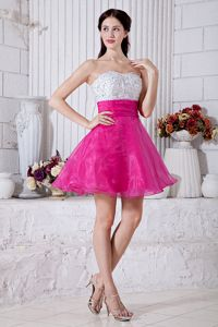 Strapless White and Hot Pink Short High School Grad Dresses with Beading