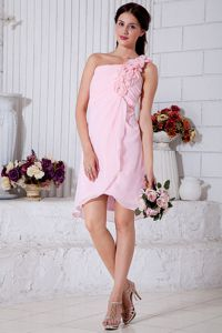Baby Pink Ruched One Shoulder Middle School Grad Dresses with Flowers