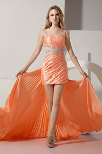 Sexy Peach Mini-length College Graduation Dress with Straps and Beadings