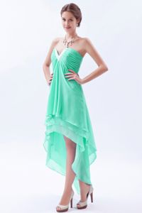 Apple Green Beaded V-neck High-low University Grad Dresses with Layers