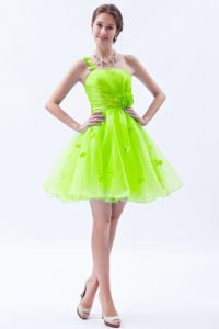 Bright Spring Green One Shoulder Short Grad Dress with Applique in Austin