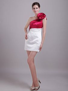 Red and White Single Shoulder Short High School Party Dresses with Flower