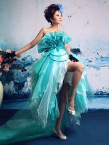 Hot Sale Turquoise Strapless High-low Formal Graduation Dress with Flowers