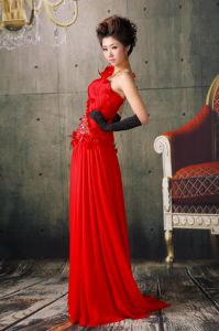 Luxurious One Shoulder Red Brush University Graduation Dress with Flowers