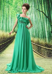 Green Ruffled Single Shoulder Brush College Party Dresses with Embroidery