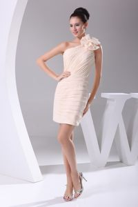 Pretty Champagne Flower One Shoulder Short Graduation Dress with Ruche