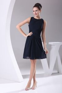 Modest Bateau Navy Blue Knee-length Graduation Dresses for High School