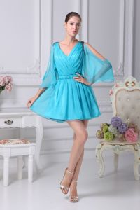 Aqua Blue Long Open Sleeves Short Middle School Grad Dress with Ruche