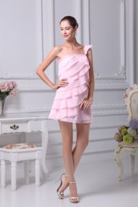 Cute Baby Pink Beaded Single Shoulder Short Graduation Dress with Layers