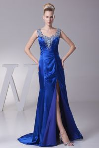 Royal Blue Beaded Sweep High Slit Graduation Ceremony Dress with Straps