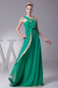 Asymmetrical Green Brush College Graduation Dress with Flower and Lace