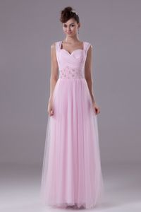 Lovely Baby Pink Ruched Ankle-length Formal Graduation Dress with Straps