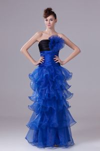 Black and Blue Strapless Long Graduation Dress with Ruffles and Flowers