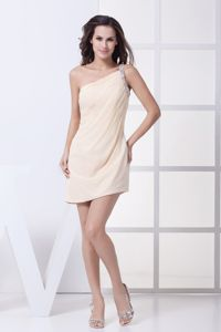 New Champagne Beaded One Shoulder Short Graduation Dress with Ruche