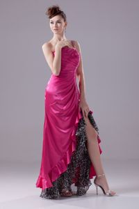 One-Shoulder Fuchsia High-Low Graduation Dress with Beading and Ruching