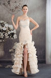 Champagne Sweetheart Beaded Ruched Graduation Dress with Slit on the Side
