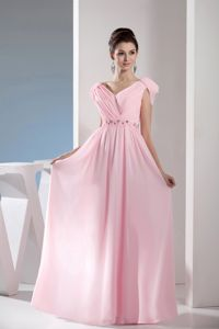 V-Neck Empire Straps Pink Floor-Length Graduation Dress with Beading