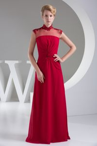 Sheer High Neck Red Appliqued Floor-Length Graduation Dress with Cutout Back