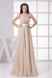 Sweetheart Sweep-Floor Champagne Ruched Graduation Dress with Satin Belt