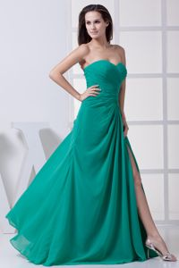 Teal Sweetheart Floor-Length Ruched Graduation Dress with Slit on the Side