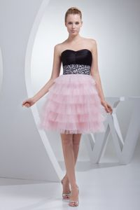 Short Length Strapless Layered Graduation Dress with Beading and Ruffles