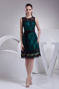 Knee-Length A-Line Scoop Hunter Green Graduation Dress with Black Lace