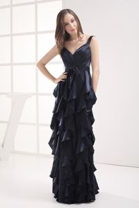 V-Neck Straps Layered Navy Blue Floor-Length Graduation Dress with Ruffles