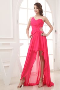 Hot Pink Ruched One-Shoulder Hi-Lo Graduation Dress with Cutout Waist