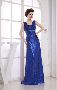 Square Straps Brush Train Sequin Ruched Graduation Dress in Royal Blue