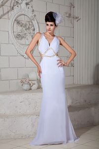 White Halter Empire Graduation Dress with Appliques and Criss Cross Back