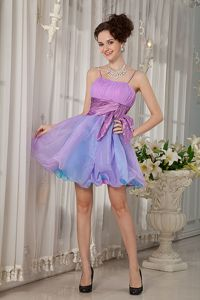 Mini-Length Spaghetti Straps Graduation Dress with Ruching and Wide Belt