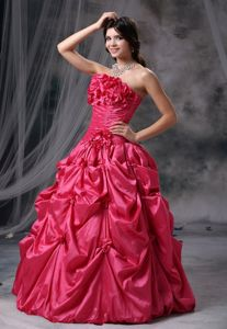 Fuchsia Ball Gown Strapless Graduation Dress with Pick-ups and Rosettes