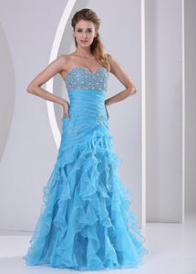Sweetheart A-Line Beaded Graduation Dress with Appliques and Ruffles