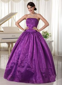 Purple Beaded Strapless Ball Gown Graduation Dress with Lace-up Back
