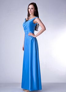 Blue Column Straps Ruched Floor-Length Graduation Dress with Lace-up Back