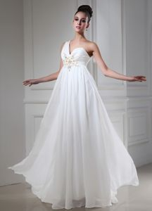 Unique One Shoulder White Long Graduation Dresses with Beading in Dallas