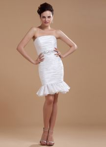 Lovely White Ruched Strapless Mini-length College Grad Dress with Ruffles