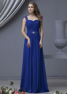 New Royal Blue Full-length Graduation Ceremony Dress with Beaded Straps