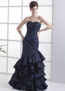 Mermaid Navy Blue Sweetheart Long Pageant Graduation Dress with Layers
